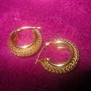 M.A.14K YG Small Woven Hoop Earrings